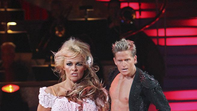 "Damian Whitewood and Pamela Anderson on ""Dancing with the Stars."""