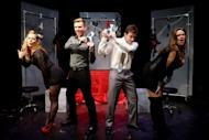 """Actors rehearse """"Cuff Me: The Fifty Shades of Grey Musical Parody"""" at Actors Temple Theatre, New York. The Londo Fire Brigade urges those using handcuffs in the bedroom to """"always keep the keys handy"""""""