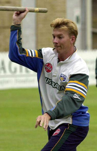 Brett Lee playing around during Australian Cricket