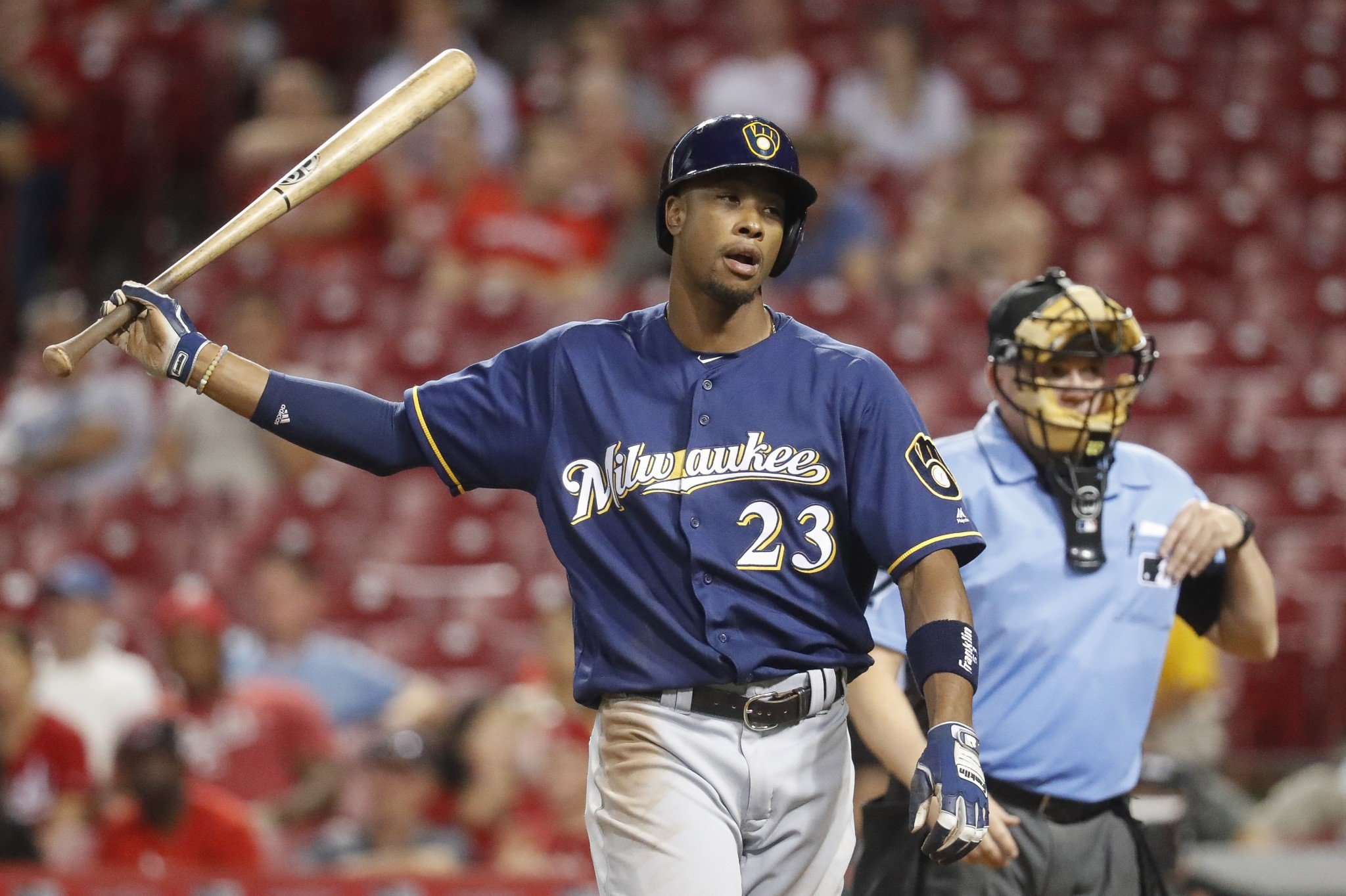 Keon Broxton was arrested early Friday morning in Florida. (AP)
