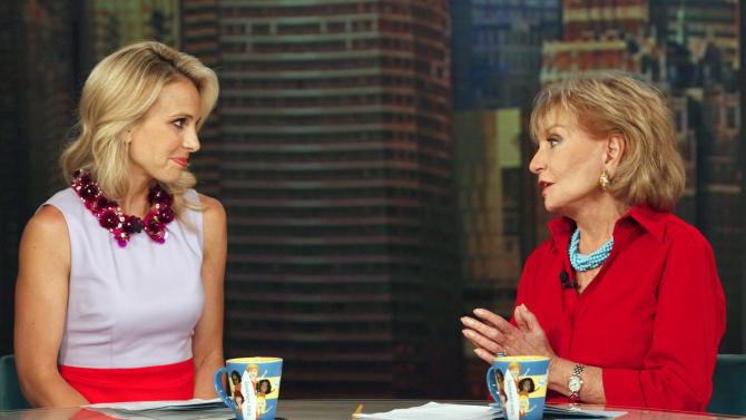 """This image released by ABC shows Elisabeth Hasselbeck and Barbara Walters, co-hosts on """"The View,"""" during a broadcast on Wednesday, July 10, 2013, in New York. Wednesday was Hasselbeck's last day on the daytime talk show. Her exit came less than 24 hours after it was announced that Hasselbeck will join Fox News Channel and the """"Fox & Friends"""" morning show in September. (AP Photo/ABC, Heidi Gutman)"""