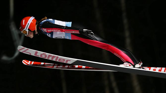 Anna Rupprecht of Germany competes in the women's Ski Jumping event at the FIS World Cup in Lillehammer