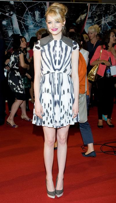 Stone likes to take style risks and it certainly shows here with her Fendi printed mini-dress at the Seoul, South Korea premiere of 'The Amazing Spider-Man.' This dress isn't for everyone; but Stone p