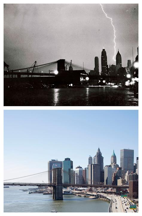 "This combination of the July 27, 1940 photo ""Striking Beauty"" by Weegee, provided by the International Center of Photography, and the same vantage point on Sunday, March 22, 2015 shows the l"