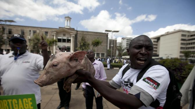 "A Kenyan  demonstrator holding a piglet moves towards the gate of parliament  in Nairobi, Kenya, Tuesday, May 14, 2013. Police fired tear-gas, water cannons and swung their batons at protesters gathered outside Kenya's parliament building to pile pressure on the country's legislators to drop demands for a salary increment. About 250 people carrying placards and banners marched through the Nairobi's city center and staged a sit in at the entrance legislators use to enter parliament. There the protesters released about two dozen piglets and a pig to symbolize ""the greed of the country's legislators."" (AP Photo/Sayyid Azim)"
