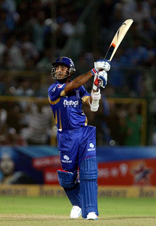 Rajasthan Royals batsman Ajinkya Rahane in action during the CLT20 match against Mumbai Indians at Sawai Mansingh Stadium, Jaipur on Sept. 21, 2013. (Photo: IANS)