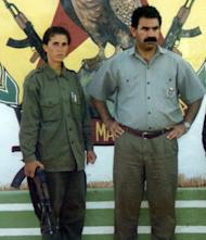 An undated photo shows Sakine Cansiz (left) and Abdullah Ocalan -- the leader of the outlawed Kurdistan Workers' Party (PKK) -- in Diyarbakir, Turkey. Cansiz -- a co-founder of the PKK -- and two other Kurdish activists were found shot dead in Paris, a day after it emerged that Turkey and the jailed leader of the banned group were holding peace talks