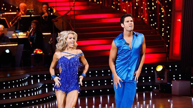 "Chuck Wicks and Julianne Hough perform the Cha-Cha-Cha to ""I'm Outta Love"" by Anastacia on ""Dancing with the Stars."""
