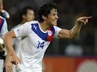 Chielan Matias Fernandez celebrates after scoring his team's first goal against Venezuela in their 2014 World Cup qualifier in Puerto la Cruz, Venezuela on June 9, in which Chile defeated Venezuela 2-0. Portuguese club Sporting Lisbon announced on Friday that they have reached agreement with Serie A side Fiorentina over the sale of Fernandez