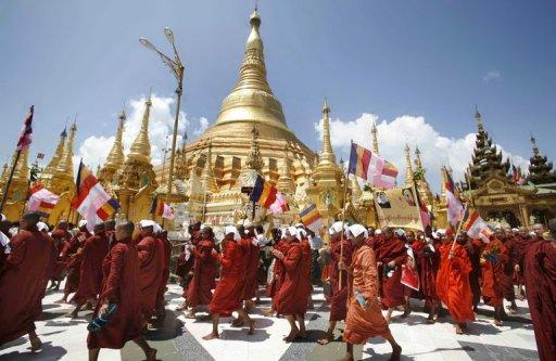Buddhist monks march down a street in protest in Yangon in September 2007. A leader of Myanmar's 2007 monk rallies has been arrested, an official said Tuesday, in his latest brush with the law since being freed from jail along with hundreds of other political prisoners this year.