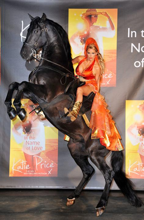 Celebrity photos: Katie Price outdid herself this week by attending the launch of her latest novel on horseback. The star revealed that the Lloyds Bank Black stallion was one of her childhood bedroom