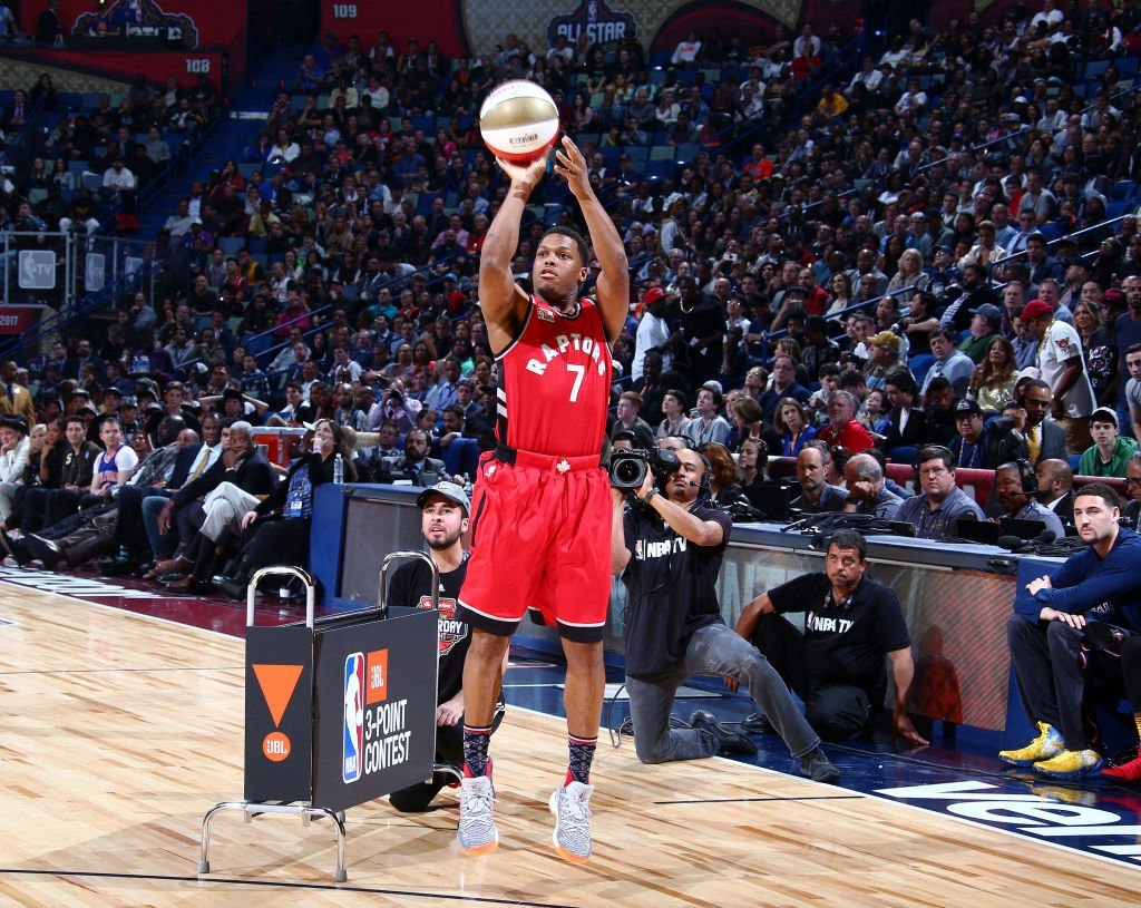 Kyle Lowry participated in the 3-Point Shootout with an injured wrist. (Getty Images)