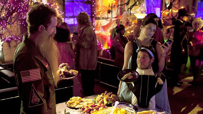 """Will Greenberg, Adam Pally as Max, and Casey Wilson as Penny in the Halloween episode """"Spooky Endings"""" of """"Happy Endings."""""""
