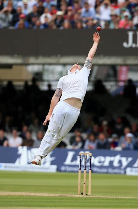 England's Ben Stokes fails to take a catch off his own bowling during the fifth day of the first Test match between England and New Zealand at Lord's cricket ground in London, Monday, May 25,