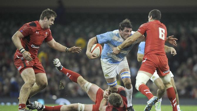 Wales' Sam Warburton tackles Argentina's Julio Farias Cabello during their International rugby union match at the Millennium Stadium in Cardiff,