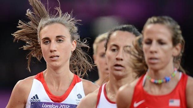 Lisa Dobriskey sits behind Morgan Uceny in the women's 1500m semi-final at the Olympic Games