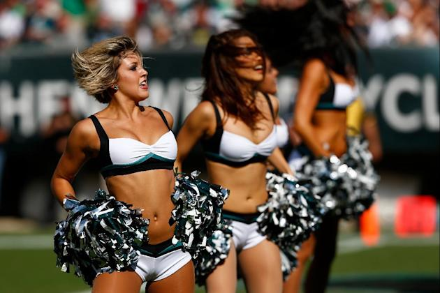 Philadelphia Eagles cheerleaders perform during the second half of an NFL football game Jacksonville Jaguars, Sunday, Sept. 7, 2014, in Philadelphia. (AP Photo/Michael Perez)