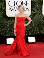 Actress Melissa Rauch arrives at the 70th Annual Golden Globe Awards at the Beverly Hilton Hotel on Sunday Jan. 13, 2013, in Beverly Hills, Calif. (Photo by Jordan Strauss/Invision/AP)