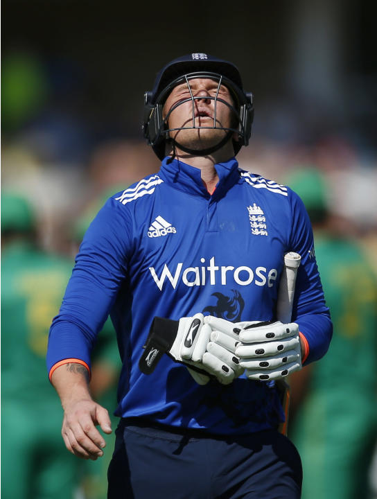 England's Jason Roy looks dejected as he walks off after being dismissed