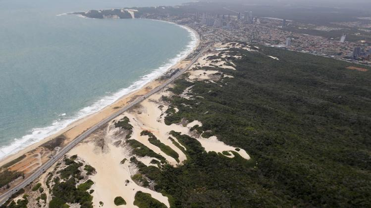 An aerial view shows Via Costeira beach in Natal