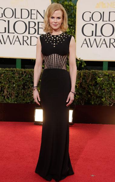 Nicole Kidman: You can always count on Nicole to be a favourite on the best dressed list. This Alexander McQueen is so different from the other gowns out there with the unique paneled sheer  print on the stomach and the jewels around the neck. It's beautiful and very Nicole. (Photo by Jeff Vespa/WireImage)
