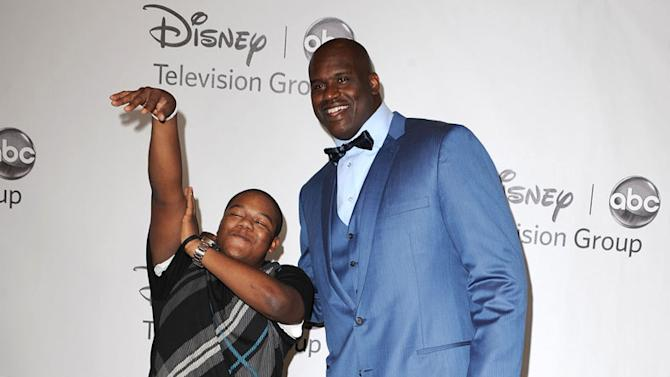 """Kyle Massey and """"Shaq Vs.'s"""" Shaquille O' Neal arrive at the Disney/ABC Television 2010 TCA Summer Press Tour on August 1, 2010 in Beverly Hills, California."""
