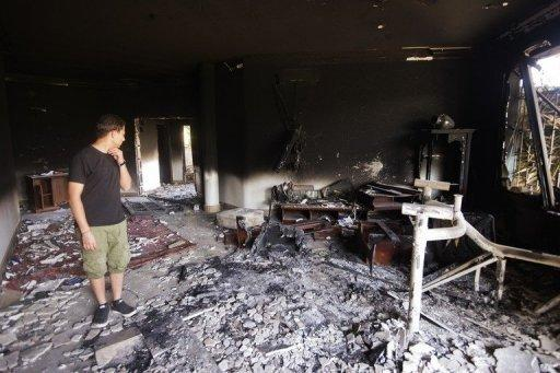 Damage inside the US consulate in Benghazi after it was attacked on September 11. Libya's interior minister has sacked Benghazi security chiefs after last week's deadly attack on the US consulate in the eastern city, according to official statements seen Monday by AFP
