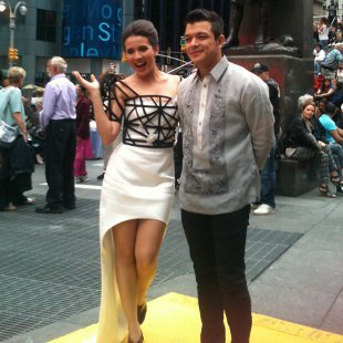 With @jerichorosales at Times Square in New York in a Joey Samson.