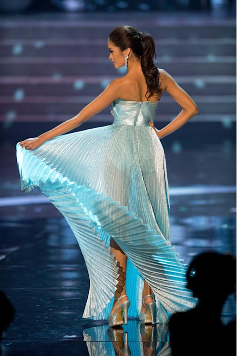 Miss Universe Philippines, Janine Tugonon, competes in an evening gown of her choice as one of the top ten contestants during this year's LIVE NBC Telecast of the 2012 Miss Universe Competition at PH
