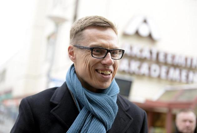 Finnish Prime Minister and leader of the National Coalition Party Alexander Stubb campaigns in Espoo, Finland on April 18, 2015 ahead of elections expected to oust the left-right government after a ca