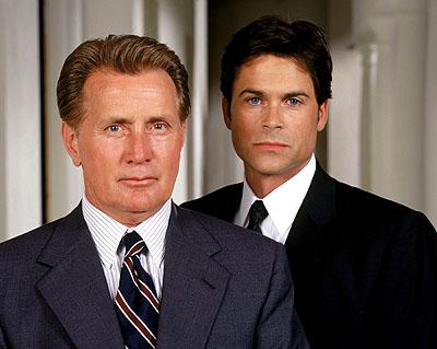 "Martin Sheen as President Josiah Bartlet and Rob Lowe as Deputy Communications Director Sam Seaborn on NBC's ""The West Wing"" West Wing"