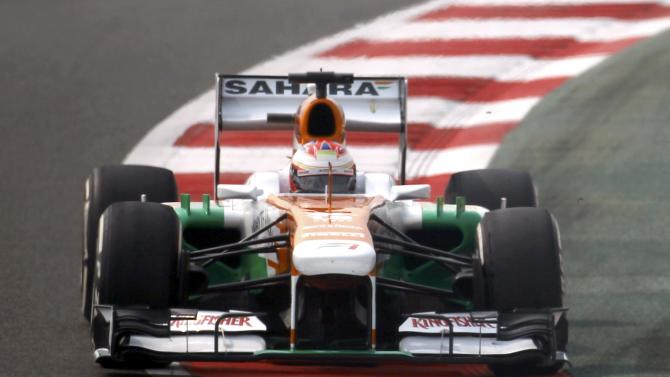 Force India Formula One driver di Resta drives during the third practice session of the Indian F1 Grand Prix at the Buddh International Circuit in Greater Noida