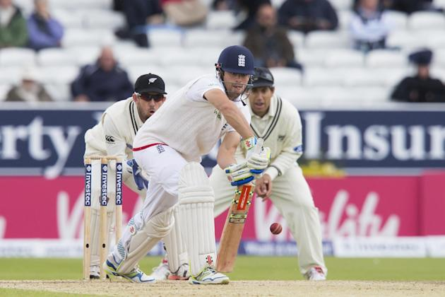 England captain Alastair Cook plays a shot off the bowling of New Zealand's Mark Craig on the fifth day of the second Test match between England and New Zealand at Headingley cricket ground in Lee