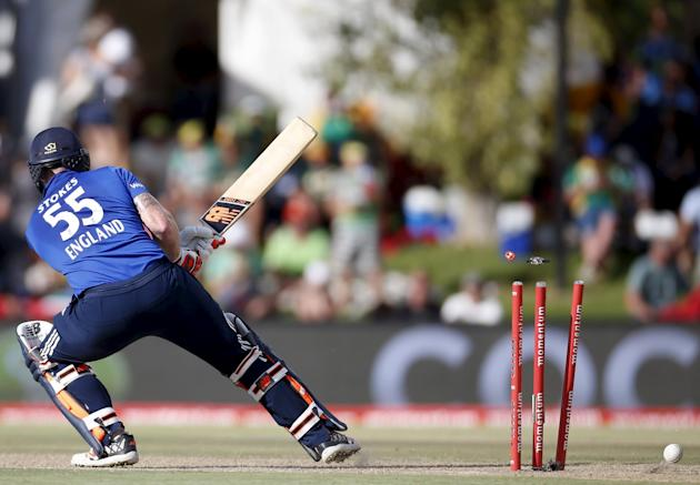 England's Ben Stokes is bowled out by South Africa's Chris Morris during the first ODI cricket match in Bloemfontein