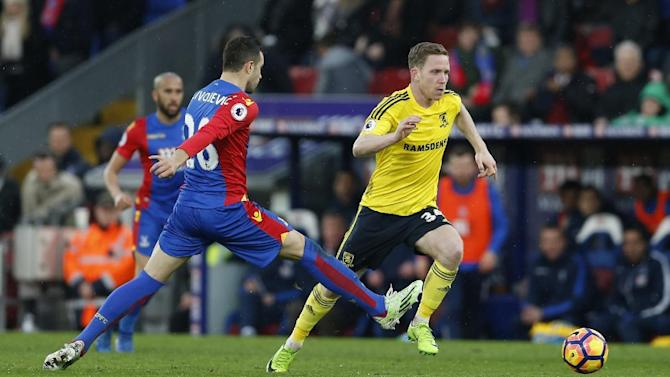Crystal Palace's Luka Milivojevic in action with Middlesbrough's Adam Forshaw