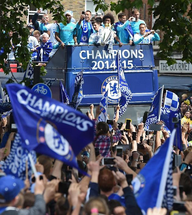 Football: Chelsea players and fans during the parade