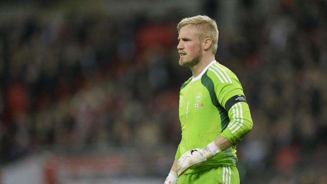 Denmark's Schmeichel reacts during their international friendly soccer match against England at Wembley stadium in London