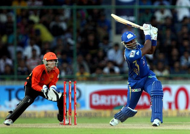 Dwayne Smith of Mumbai Indians in action during the CLT20 match between Perth Scorchers and Mumbai Indians at Feroz Shah Kotla, Delhi on Oct. 2, 2013. (Photo: IANS)
