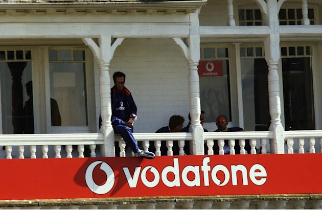 Michael Vaughan outside the England dressing room