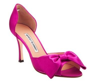 Manolo Blahnik bow heels, $775, at Barneys New York