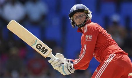 England's Root plays a shot during the third one-day international cricket match against the West Indies at North Sound, Antigua