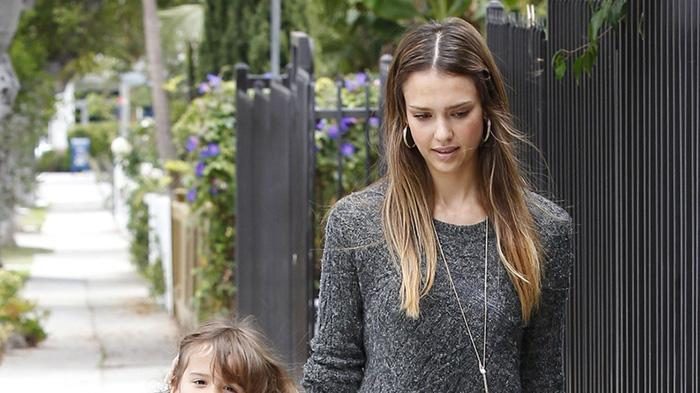 Jessica Alba takes daughter Honor to her school in Santa Monica