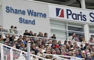 Spectators watch the first one-day international match between England and West Indies from the Shane Warne Stand officially opened on June 16 at The Ageas Bowl cricket ground in Southampton, southern England