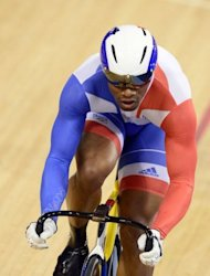 France's Gregory Bauge competes in the London 2012 Olympic Games men's sprint round of eight final cycling event at the Velodrome in the Olympic Park in East London
