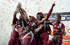 COLOMBO, SRI LANKA - OCTOBER 07: West Indies team with the trophy after winning the ICC World Twenty20 2012 Final between Sri Lanka and the West Indie...