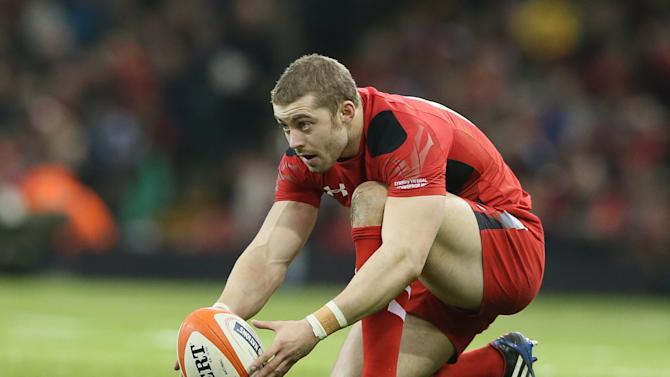 Wales's Leigh Halfpenny lines up a penalty kick during their Six Nations international rugby union match between Wales and Italy at the Millennium stadium in Cardiff, Wales, Saturday, Feb. 1, 2014. (AP Photo/Alastair Grant)