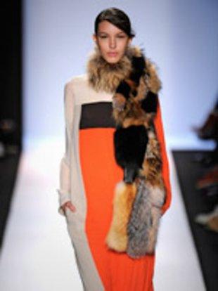 Bursts of color and fur, shown here at the BCBG Max Azria show in New York, will be popular in stores this fall.