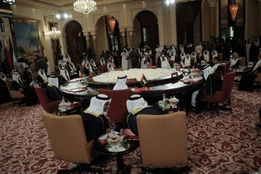 """Gulf Cooperation Council (GCC) leaders ahead of the annual GCC summit at the Sakhir Palace in Manama on December 24, 2012. Leaders of the Gulf Arab monarchies lashed out at Iran as they concluded a two-day Manama summit Tuesday, saying Tehran must immediately and completely stop its """"interference"""" in their internal affairs"""