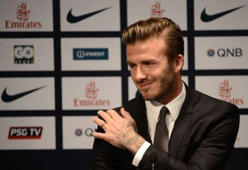 David Beckham gives a press conference at the Parc des Princes stadium in Paris, on January 31, 2013