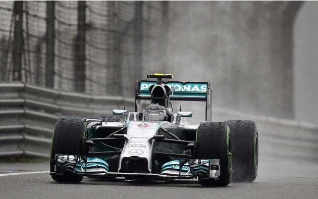 Mercedes Formula One driver Nico Rosberg of Germany drives during the third practice session of the Chinese F1 Grand Prix at the Shanghai International circuit